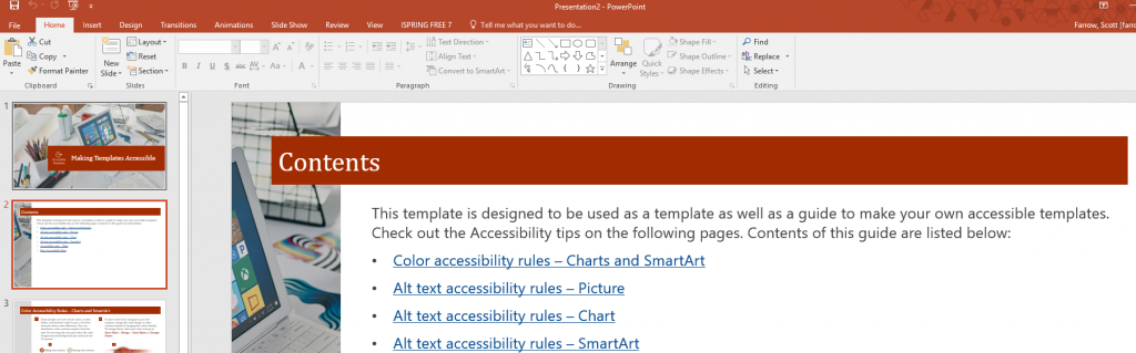 Screenshot of a Microsoft PowerPoint template being edited, with contents page highlighted.